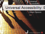 Research Study on Universal Accessibility for External Areas, Open Spaces & Green Spaces